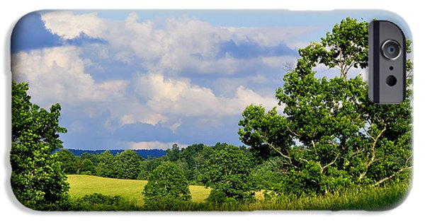 Pasture Scenes Photographs iPhone Cases - Pasture Fields and Mountains iPhone Case by Thomas R Fletcher