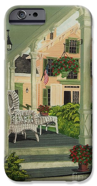 4th July Paintings iPhone Cases - Patriotic Country Porch iPhone Case by Charlotte Blanchard