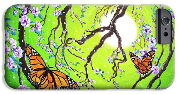 Cherry Blossoms iPhone Cases - Peace Tree with Monarch Butterflies iPhone Case by Laura Iverson