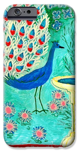 Sue Burgess Ceramics iPhone Cases - Peacock and Birdbath iPhone Case by Sushila Burgess
