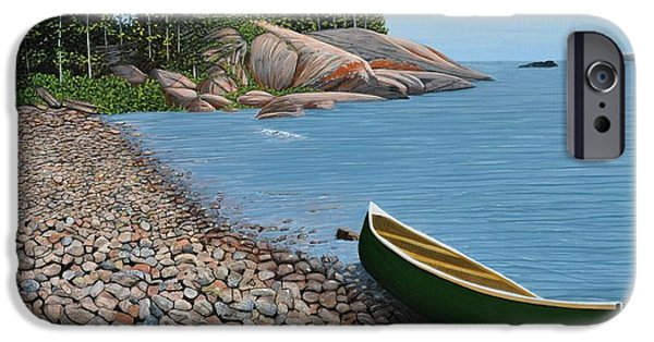 Canoe iPhone Cases - Pebble Beach iPhone Case by Kenneth M  Kirsch