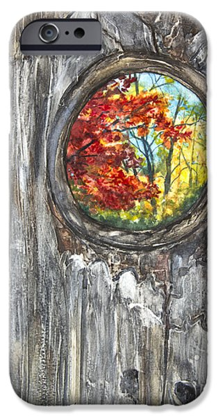 Fall Scenes Paintings iPhone Cases - Peeky Hole Through The Fence I iPhone Case by Patricia Allingham Carlson