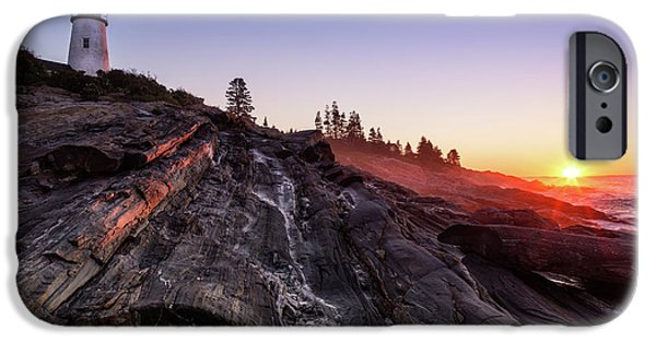 Ledge iPhone Cases - Pemaquid Sunrise Pemaquid Point Lighthouse Maine iPhone Case by Dawna  Moore Photography