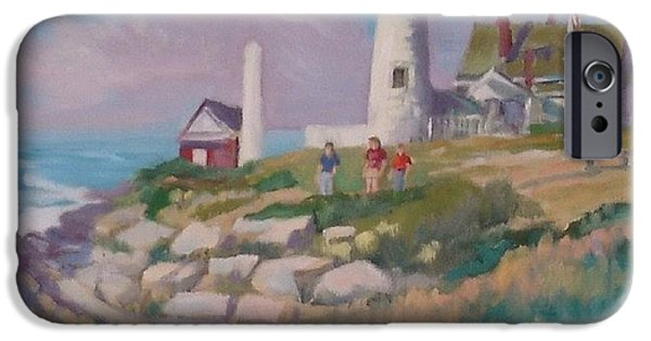 New England Lighthouse Paintings iPhone Cases - Pemiquid Light iPhone Case by Michael McDougall