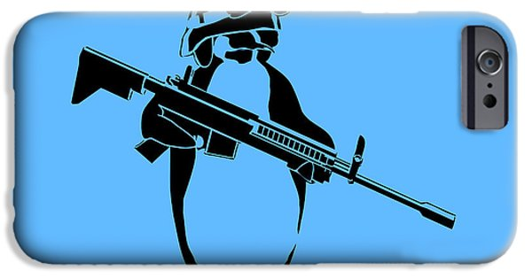 Innocence iPhone Cases - Penguin soldier iPhone Case by Pixel Chimp