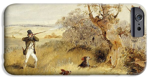 Country iPhone Cases - Pheasant Shooting iPhone Case by Henry Thomas Alken