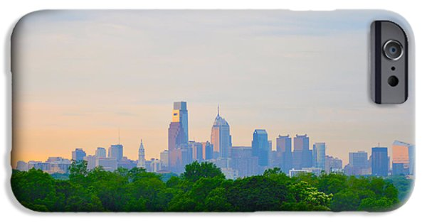 City Scape Digital Art iPhone Cases - Philadelphia Skyline from West Lawn of Fairmount Park iPhone Case by Bill Cannon