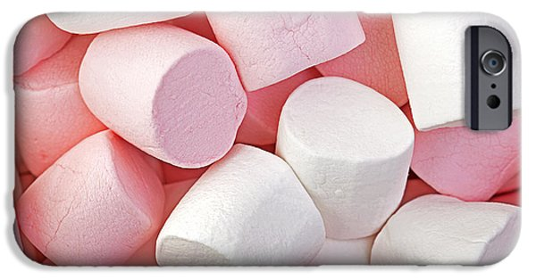 Unhealthy iPhone Cases - Pink and White marshmallows iPhone Case by Jane Rix