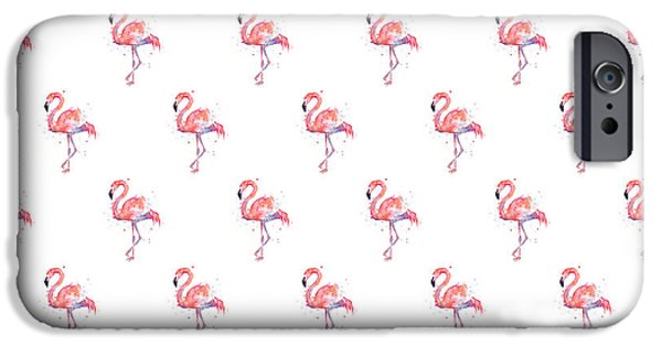 Pattern iPhone 6 Case - Pink Flamingo Watercolor Pattern by Olga Shvartsur