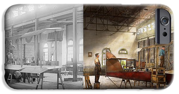 Model iPhone Cases - Plane - In the Airplane Factory 1918 - Side by Side iPhone Case by Mike Savad
