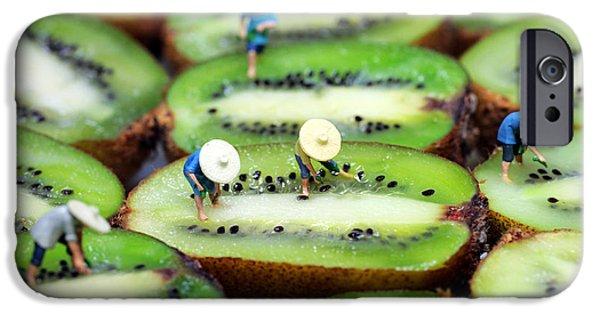 Pop Surrealism Digital iPhone Cases - Planting rice on kiwifruit iPhone Case by Paul Ge