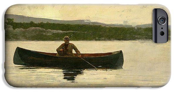 Paddle iPhone Cases - Playing a Fish iPhone Case by Winslow Homer