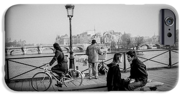Painter Pyrography iPhone Cases - Pont des Art Paris. iPhone Case by Cyril Jayant