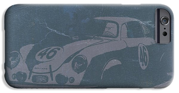 Old Digital iPhone Cases - Porsche 356 Coupe Front iPhone Case by Naxart Studio