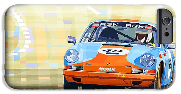 Transportation Mixed Media iPhone Cases - Porsche 911 S  Classic Le Mans 24  iPhone Case by Yuriy  Shevchuk