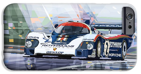 Racing Mixed Media iPhone Cases - Porsche 956 Rothmans 1982 1000km Francorchamps Derek Bell iPhone Case by Yuriy  Shevchuk