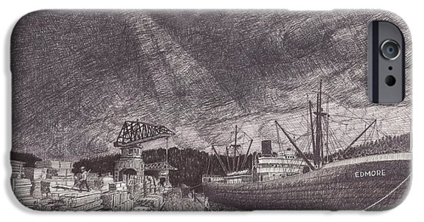 Winter Storm Drawings iPhone Cases - Port of Tacoma WA waterfront iPhone Case by Jack Pumphrey