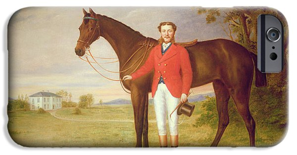 Top Hat iPhone Cases - Portrait of a gentleman with his horse iPhone Case by English School