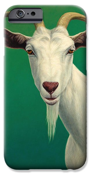 Farm iPhone Cases - Portrait of a Goat iPhone Case by James W Johnson