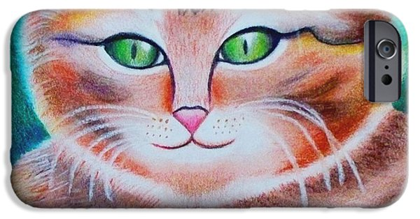 Beautiful Cat Drawings iPhone Cases - Portrait of a Kitten iPhone Case by Monica  Vega