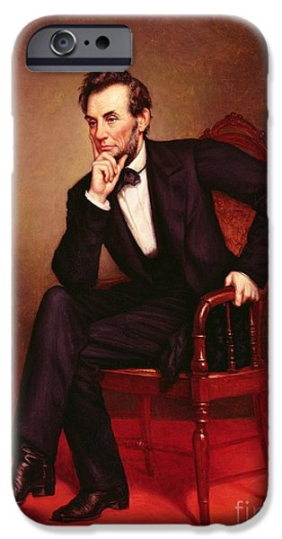 Politician iPhone Cases - Portrait of Abraham Lincoln iPhone Case by George Peter Alexander Healy