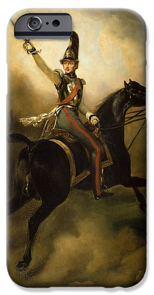 Army Men iPhone Cases - Portrait of Friedrich Heinrich iPhone Case by Emile Jean Horace Vernet