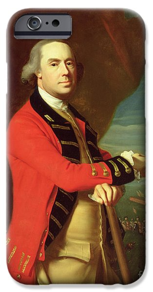 Army Men iPhone Cases - Portrait of General Thomas Gage iPhone Case by John Singleton Copley