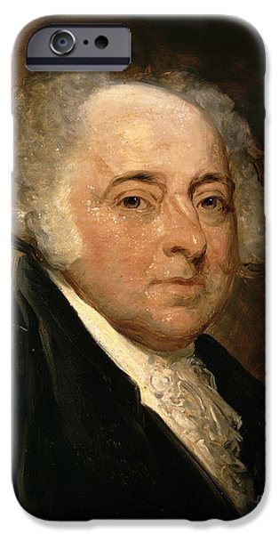 Politics iPhone Cases - Portrait of John Adams iPhone Case by Gilbert Stuart