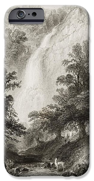 Fall Scenes iPhone Cases - Powerscourt Fall, County Wicklow iPhone Case by Ken Welsh
