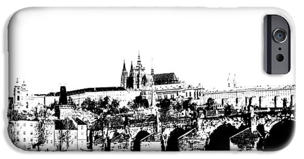 Prague Digital iPhone Cases - Prague castle and Charles bridge iPhone Case by Michal Boubin