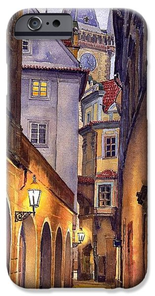 Watercolor iPhone Cases - Prague Old Street  iPhone Case by Yuriy  Shevchuk