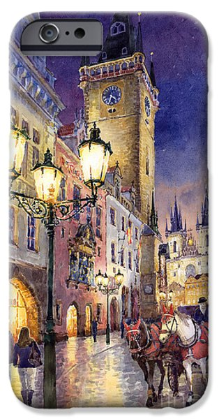 Horse iPhone Cases - Prague Old Town Square 3 iPhone Case by Yuriy  Shevchuk