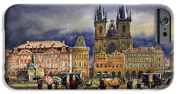 Watercolor iPhone Cases - Prague Old Town Squere After rain iPhone Case by Yuriy  Shevchuk