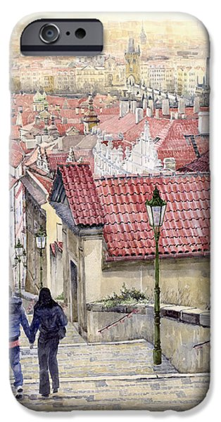 Roof iPhone Cases - Prague Zamecky Schody Castle Steps iPhone Case by Yuriy  Shevchuk