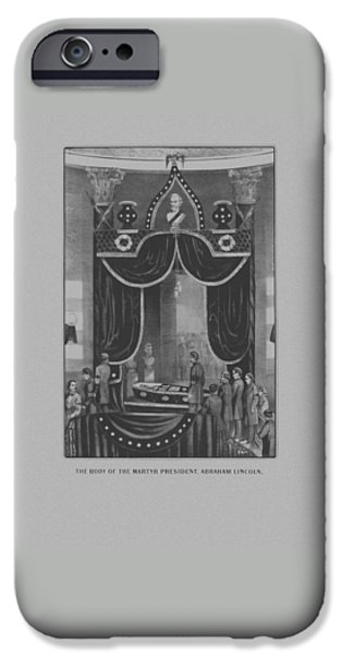 Abraham Lincoln iPhone Cases - President Abraham Lincoln Lying In State iPhone Case by War Is Hell Store