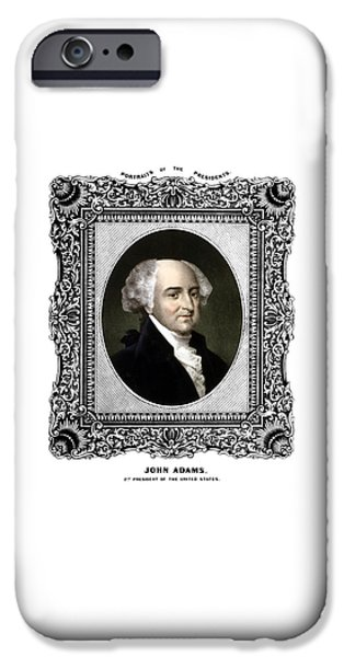 4th July iPhone Cases - President John Adams Portrait  iPhone Case by War Is Hell Store