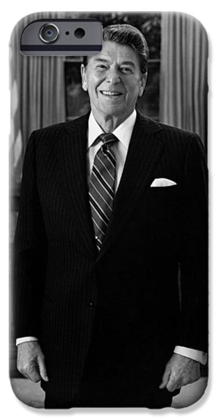Reagan iPhone Cases - President Ronald Reagan In The Oval Office iPhone Case by War Is Hell Store