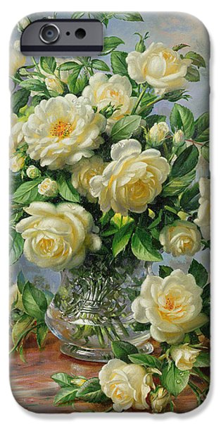 Rose Paintings iPhone Cases - Princess Diana Roses in a Cut Glass Vase iPhone Case by Albert Williams