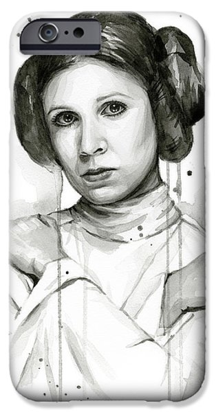 Star iPhone 6 Case - Princess Leia Portrait Carrie Fisher Art by Olga Shvartsur