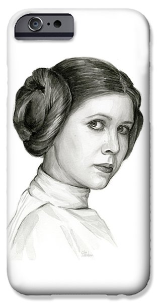 Star iPhone 6 Case - Princess Leia Watercolor Portrait by Olga Shvartsur