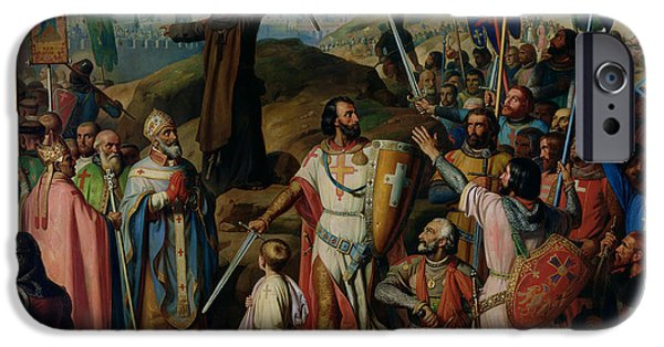 Weapon iPhone Cases - Procession of Crusaders around Jerusalem iPhone Case by Jean Victor Schnetz