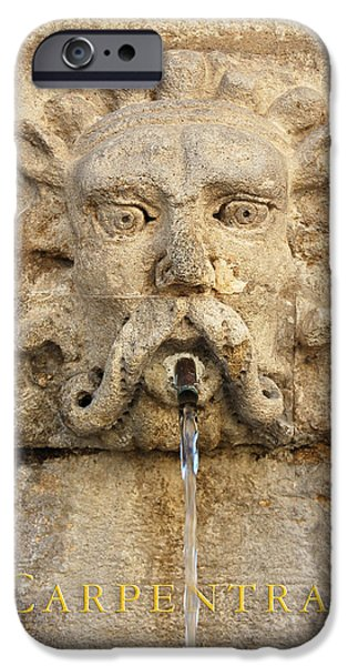 Fontain iPhone Cases - Provence Fountain 2 Carpentras iPhone Case by Philippe Taka