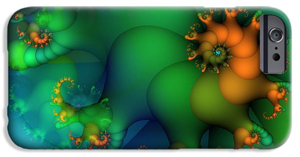 Fractals Fractal Digital Art iPhone Cases - Pumpkin Garden iPhone Case by Jutta Maria Pusl