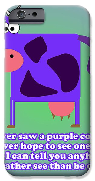 Caruso iPhone Cases - Purple Cow iPhone Case by Anthony Caruso