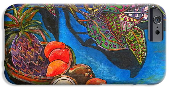 Tropical Paintings iPhone Cases - Purple Pineapple iPhone Case by Patti Schermerhorn