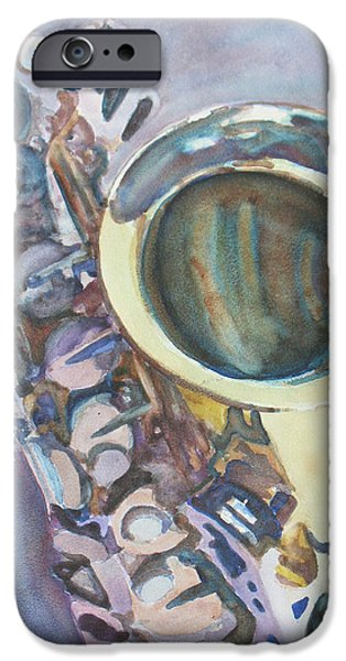 Swing Paintings iPhone Cases - Purple Sax iPhone Case by Jenny Armitage