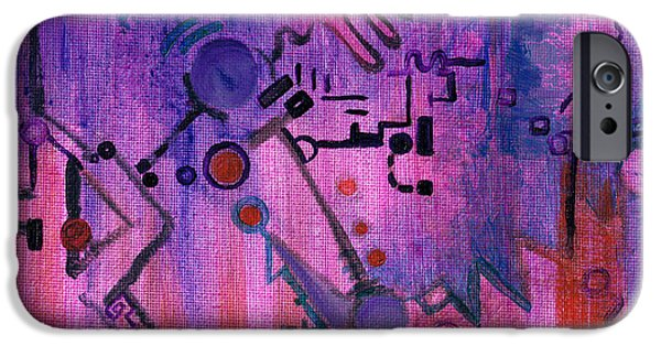 Technical Paintings iPhone Cases - Puzzle in Purple iPhone Case by Regina Valluzzi