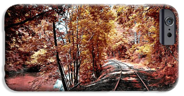 Red Leaf Digital Art iPhone Cases - Rail Road along Brandywine Creek iPhone Case by Bill Cannon