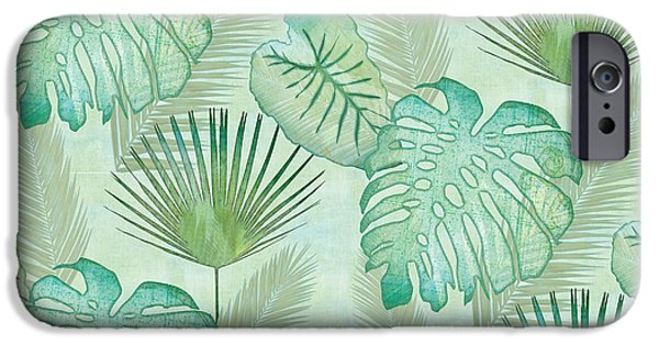 Artwork iPhone 6 Case - Rainforest Tropical - Elephant Ear And Fan Palm Leaves Repeat Pattern by Audrey Jeanne Roberts