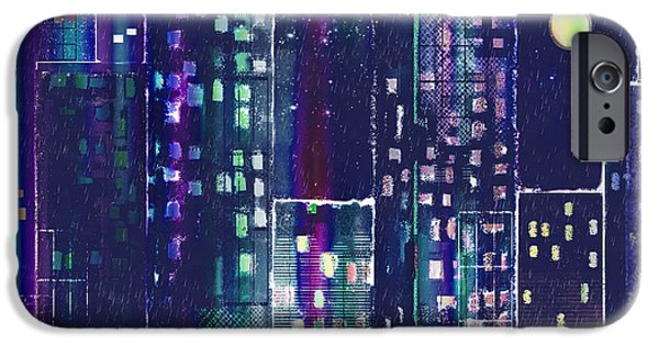 City Scape Digital Art iPhone Cases - Rainy Night In The City iPhone Case by Arline Wagner
